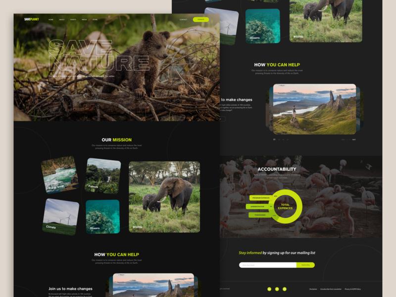 Saveplanet Homepage Design wwf animals typography homepage uxui website web ux ui design webdesign