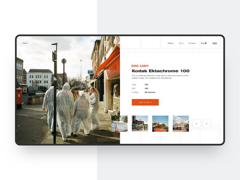 Kodak Product Page branding typography uxui homepage website web ux design ui webdesign