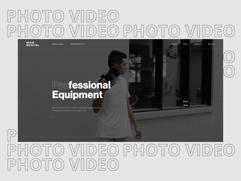 Homepage Rent Studio typography homepage minimal uxui website web ux ui logo webdesign