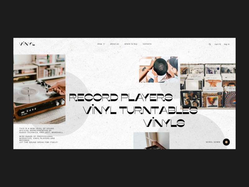 Vinyl E-commerce Homepage typography homepage uxui design website web ux ui logodesign webdesign