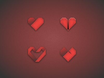 Origami heart heart icon red logo origami japanese fold paper