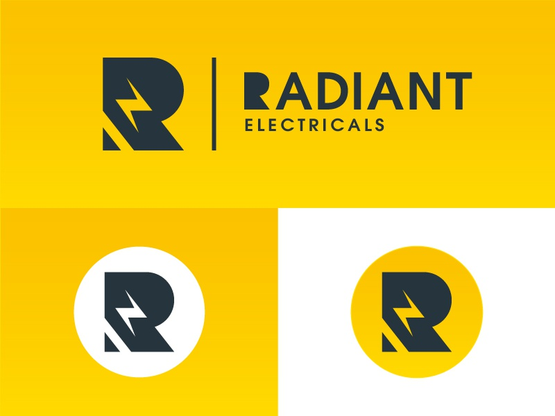 Radiant Electricals Logo designer design logo electricity electric radiant