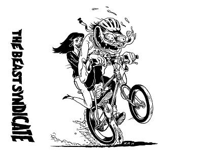 The beast syndicate bike beast bicycle illustration