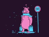 Mr. Bear doing errands