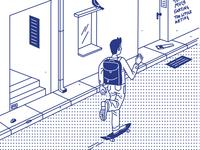 Commuting by skateboard