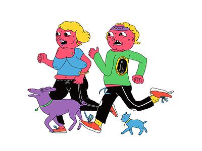 Running craze dogs couple running