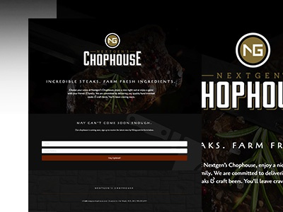 NG Chophouse Landing Page - Coming Soon steakhouse chophouse website restaurant landing page