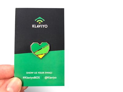 Klaviyo Community Heart Pin event branding swag pin design pin badge