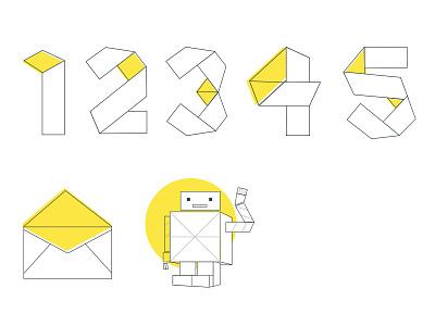 Paper Icons paper robot typogaphy numeral icons illustation