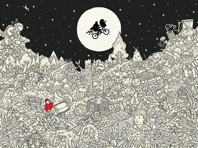 We are E.T. spielberg et extraterrestre film details blackwhite illustration digitalpainting dettagli doodleart doodle illustrazione
