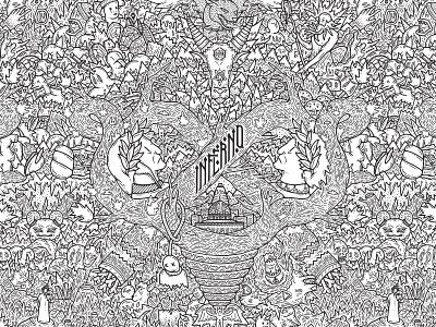INFERNO web details wacom digitalpainting dettagli doodleart doodle grafica graphic illustration illustrazione inferno