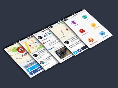 Localcrime App interface localcrime app iphone ui flat design crime sketch