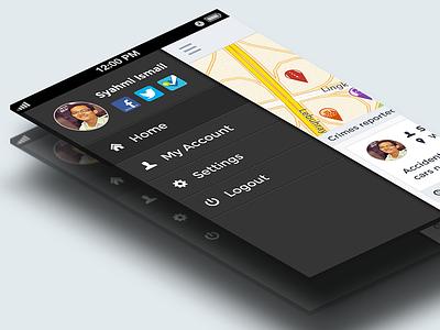 Localcrime Sidebar sidebar iphone app localcrime flat design