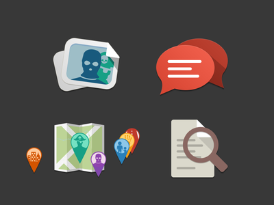 Localcrime Icons icon icons flat design photo chat map search