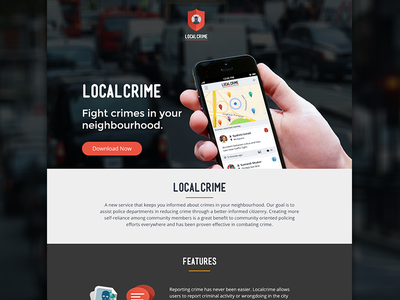 Landing Page landing page localcrime web design location iphone app ui mobile website flat design bootstrap