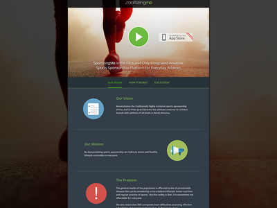 Sportizingme Home landing page web design sport app ui mobile website flat design bootstrap home layout one page