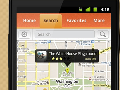 KaBOOM! - Map View android ui interface application map design orange