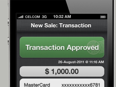 Transaction Approved ui iphone ios app design interface pattern