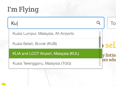 I'm Flying from.. ui web interface dropdown airports