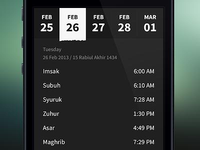 Date Picker ui ux gesture waktu solat iphone flat app interface