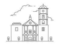 San Agustin Church Illustration