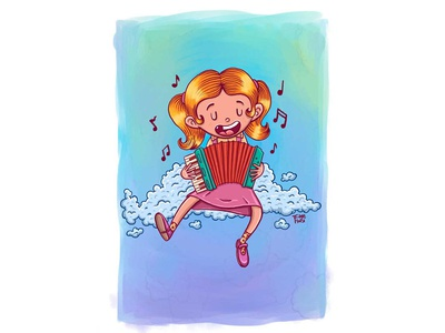 Touching the clouds - Concertina illustration