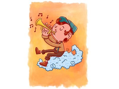 Touching the clouds - Trumpet illustration