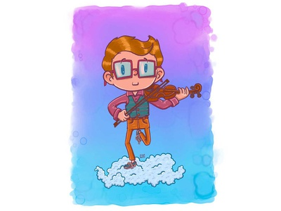 Touching the clouds - Violin illustration
