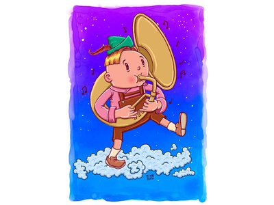 Touching the clouds - Tuba illustration