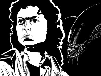 Ellen Ripley   Inktober Day 6 alien drawing inking inktoberday6 inktober2018 inktober