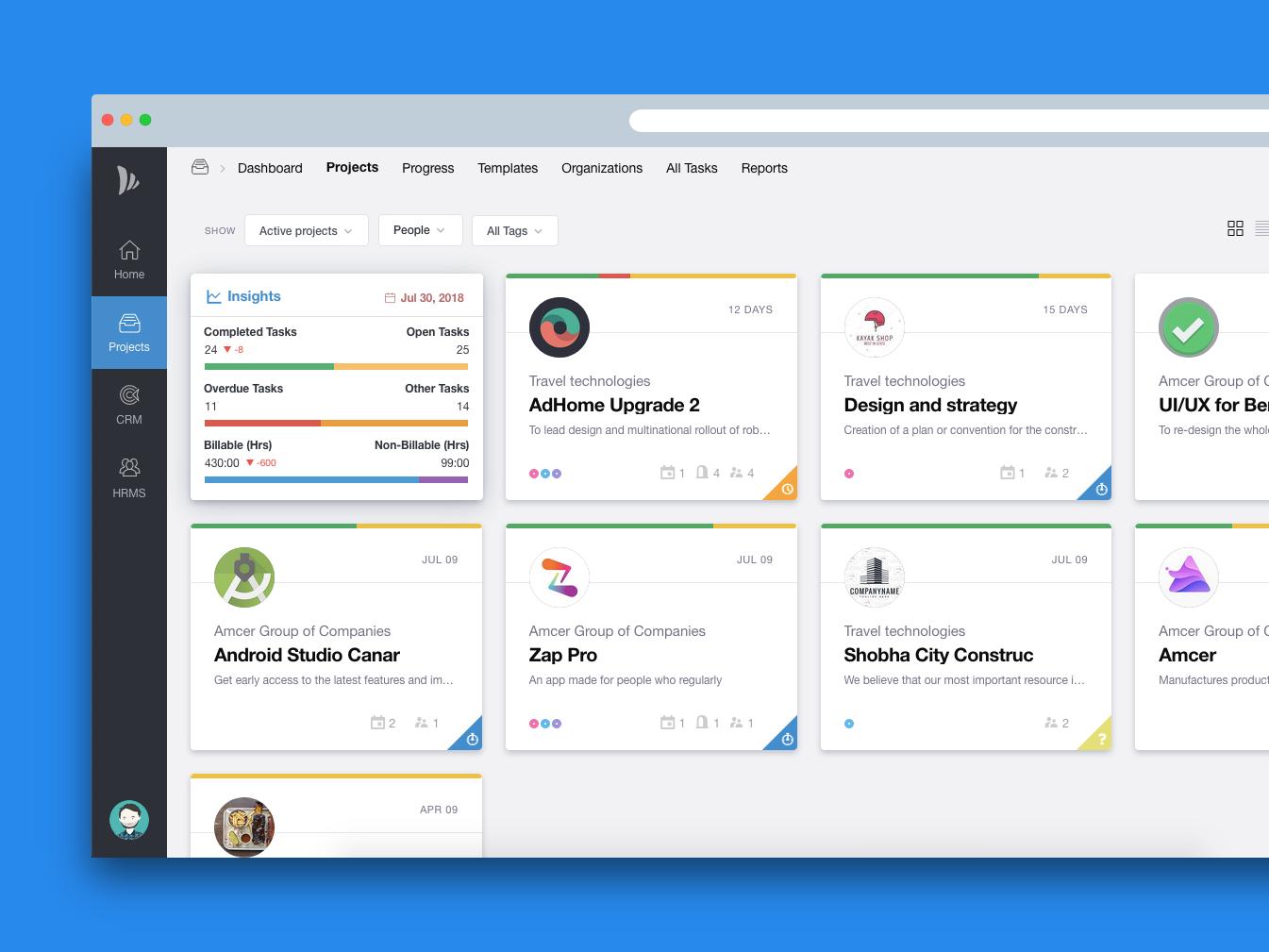 Project Grid View insights analytics design ui ux sublime html app teamwave project management