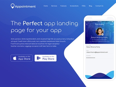 Appointment appointment website template ui designing design landing page