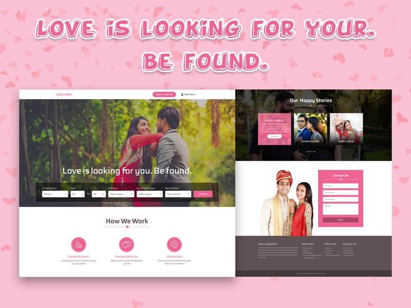 Matrimonial @chilli @2x @coolpink @fiverr @matrimonial @homepage typography branding landing page art work ux ui designing design