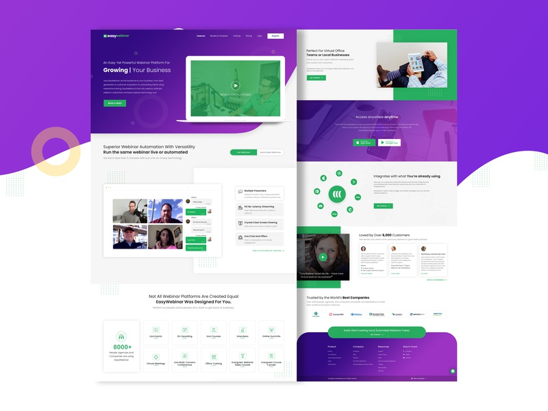 Easywebinars blue and green cool design dribbble best shot web landing page branding ux ui vector art design art work illustration designing design