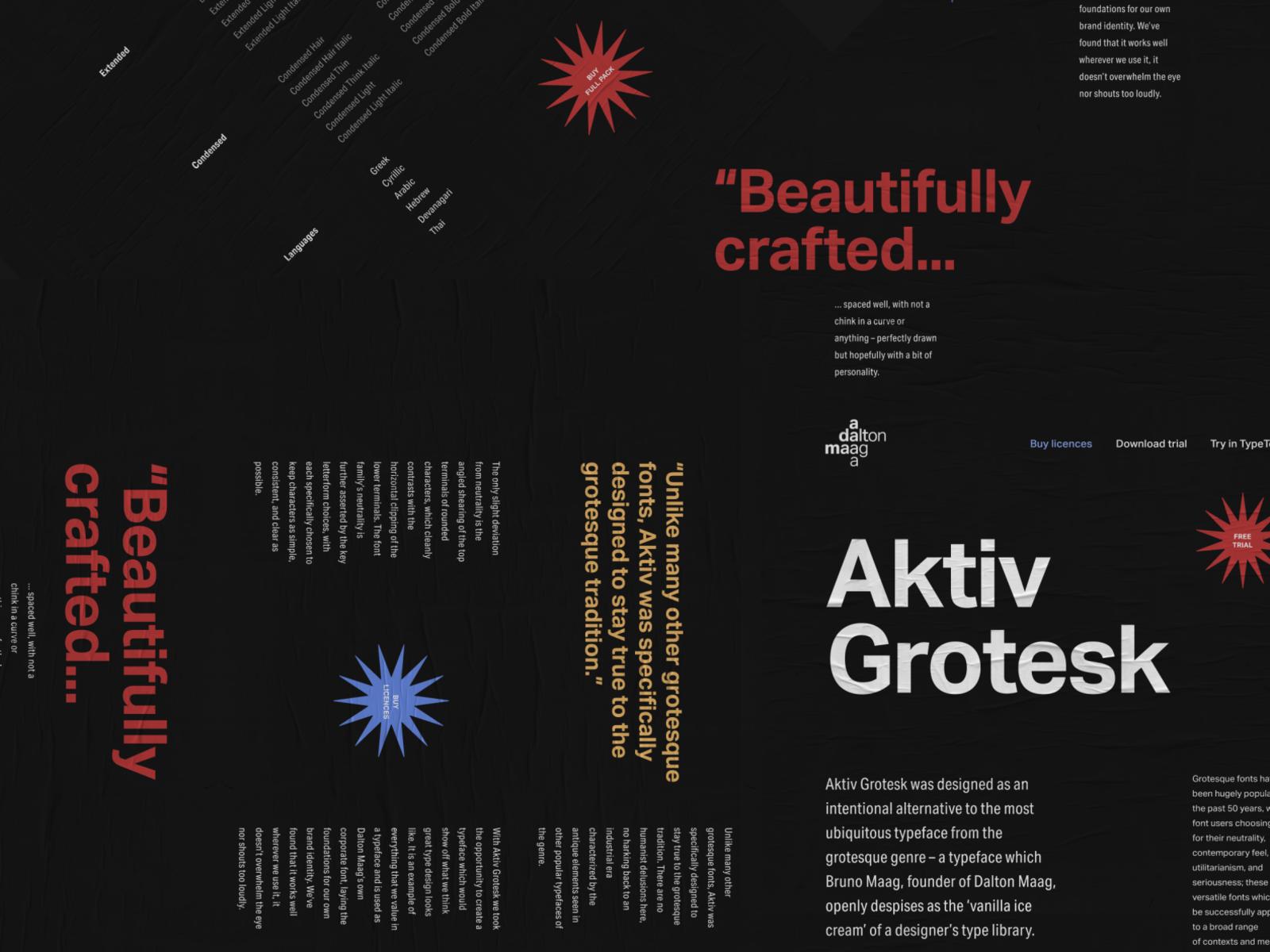 Aktiv Grotesk Landing Page by Denis on Dribbble