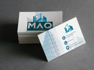 MAQ Construction Corp. Business Card Design blueprint houses building builder architecture engineering business indesign photoshop illustrator print bc businesscard card icon typography logo illustration mockup design