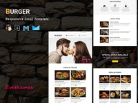 BURGER - Responsive Email Template cafe tasty dinner food resturant burger pizza hotel html responsive business lead campaign marketing email template newsletter mailchimp freelance