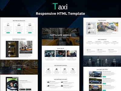 Taxi - Responsive HTML Template freelance hire dealer auto car rental taxi lead responsive landing page website webdesign html