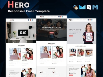 Hero - Responsive Email Template freelance lead hire marketing office business corporate mailchimp campaign responsive newsletter email template