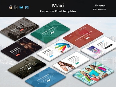 Maxi - Responsive Email Templates travel shop restaurant market lead fitness email corporate charity business app agency