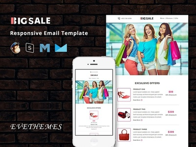 BigSale - Responsive Email Template xmas christmas freelance sale fashion gifts ecommerce shop deals mailchimp campaign responsive newsletter email template