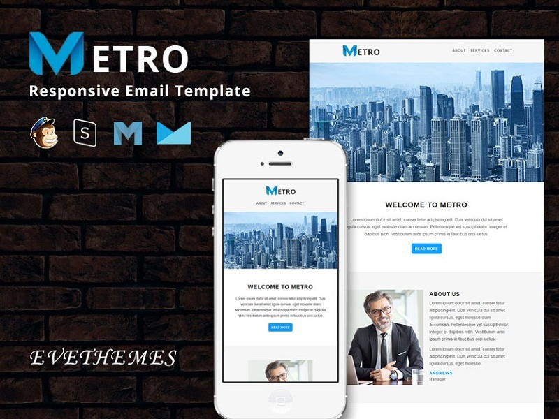 Metro - Responsive Email Template freelance lead hire marketing office business corporate mailchimp campaign responsive newsletter email template