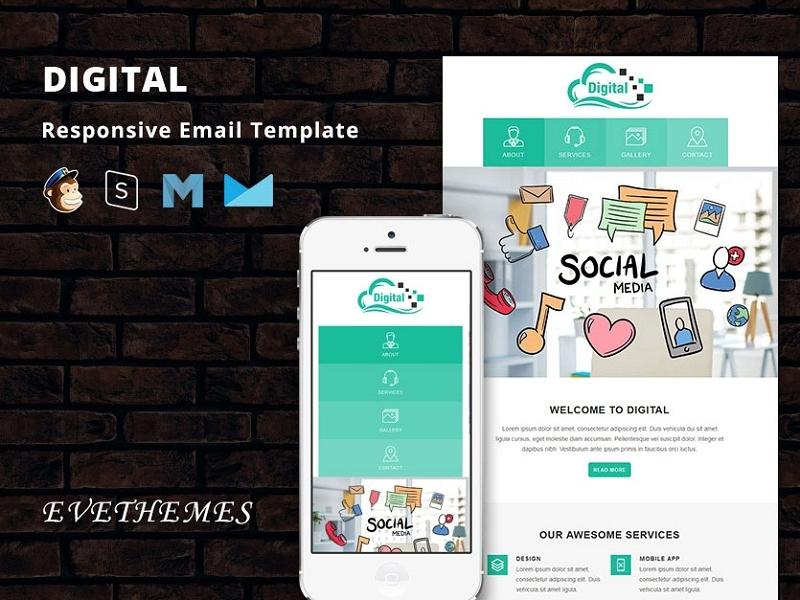 Digital - Responsive Email Template freelance lead digital marketing business sem seo mailchimp campaign responsive newsletter email template