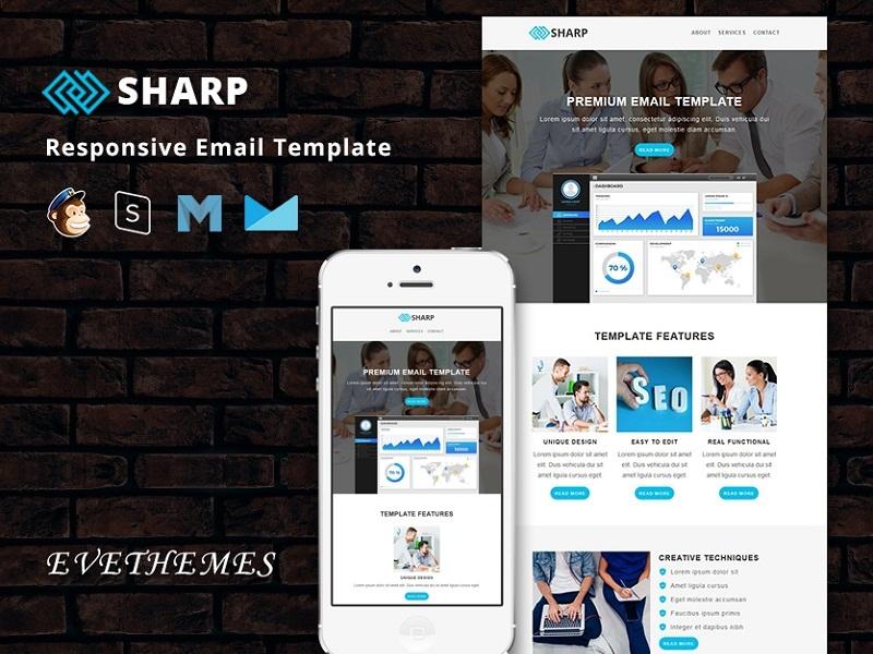 Sharp - Responsive Email Template freelance lead digital marketing business sem seo mailchimp campaign responsive newsletter email template