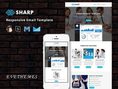 Sharp - Responsive Email Template freelance lead digital marketing business sem seo mailchimp campaign responsive newsletter email template