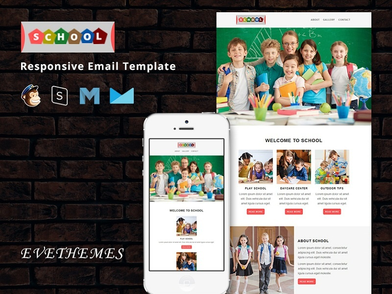 School - Responsive Email Template freelance kids playschool marketing college school education mailchimp campaign responsive newsletter email template