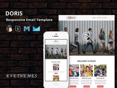 Doris - Responsive Email Template freelance party xmas marketing event band music mailchimp campaign responsive newsletter email template