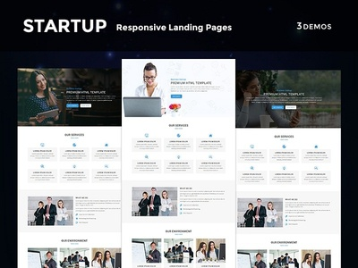Startup - Multipurpose Responsive HTML Landing Page freelance startup one page office business corporate lead market landing page events webdesign html