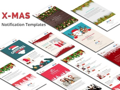 X-MAS - Responsive Newsletter and Notification Template freelance party xmas marketing e-commerce invitation christmas mailchimp campaign responsive notification email template