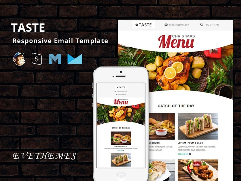 Taste - Restaurant Responsive Email Template freelance pizza newyear restaurant hotel food dinner cafe business burger bar email template